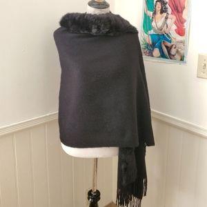 Vintage Cashmere & Rabbit Fur Shawl / Wrap Scarf